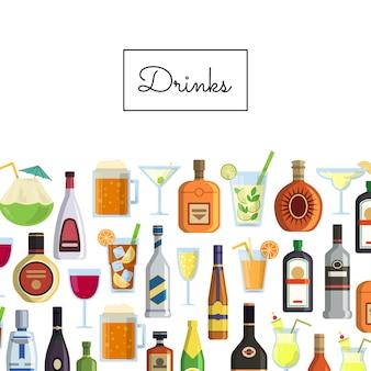 Bebidas alcoólicas em copos e garrafas e com lugar para texto