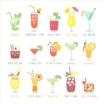 Bebidas coloridas com os nomes dos coquetéis, isolados em um fundo branco, estilo desenhado à mão.