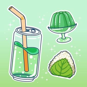 Bebidas com doces. mão-extraídas coleção definida.