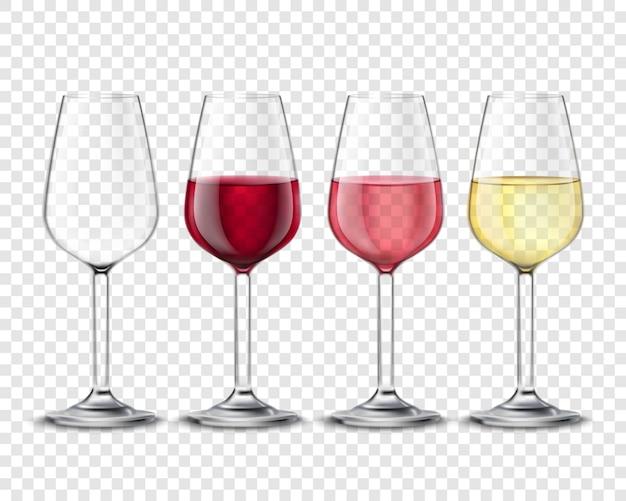 Bebidas de álcool de copos de vinho conjunto poster transparente