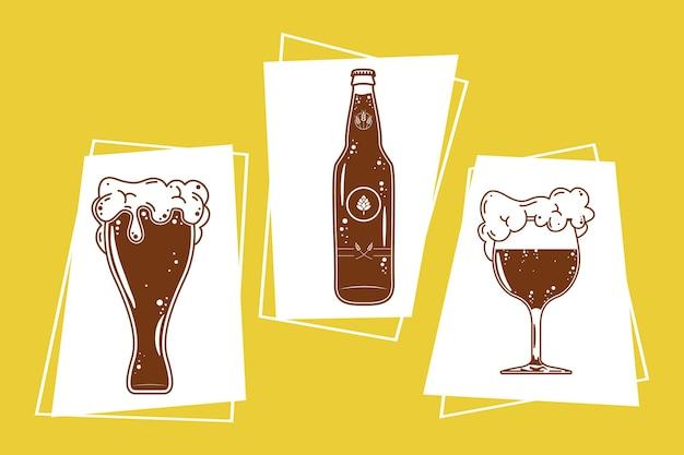 Bebidas de cerveja com três ícones