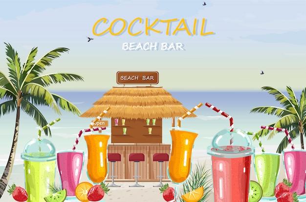 Bebidas de coquetel na praia