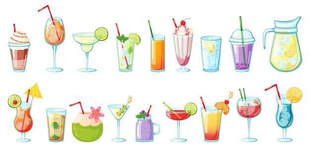 Bebidas de verão coquetéis tropicais não alcoólicos, limonadas, smoothies, sucos naturais, água com gelo definido