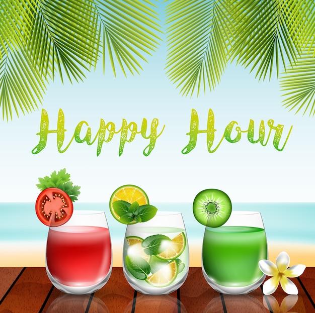 Bebidas de verão na mesa no fundo da praia