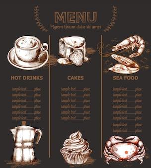 Bebidas e bolos de modelo de menu