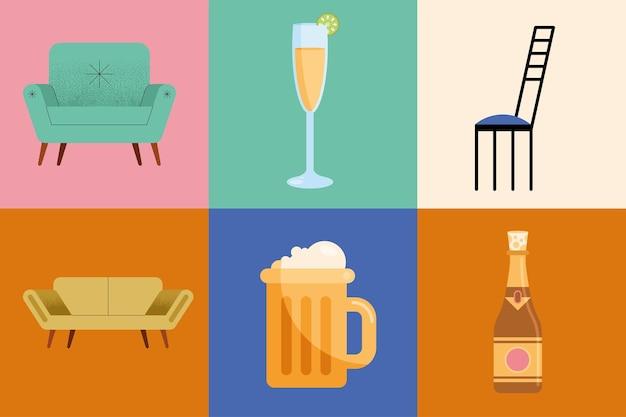 Bebidas e móveis