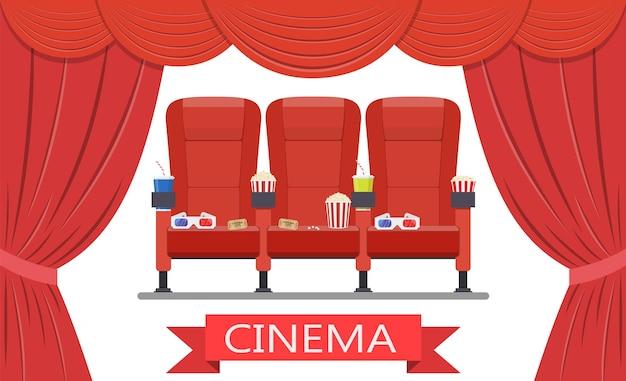 Bebidas e pipoca, taças de cinema
