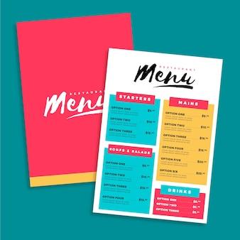 Bebidas e vários modelos de menu de comida