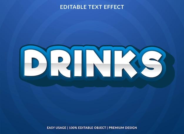 Bebidas efeito de texto modelo editável vetor premium