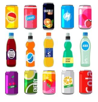 Bebidas efervescentes em garrafas de vidro.