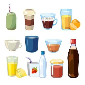 Bebidas não alcoólicas definidas no estilo cartoon