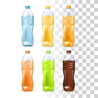 Bebidas nas garrafas plásticas