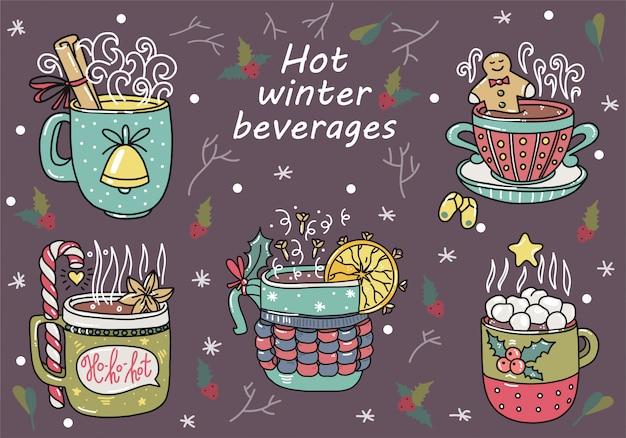 Bebidas quentes de inverno. estilo de doodle desenhado de mão. desenhos animados bonitos