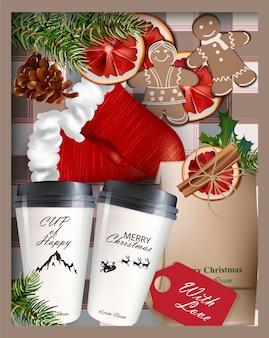 Bebidas quentes e decoração de natal vector realistic 3d illustrations detalhadas