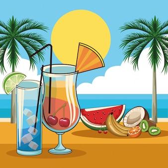 Bebidas tropicais de coquetel