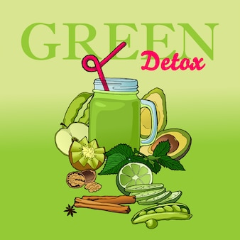 Bebidas vegan detox. receita vegetariana smoothie.