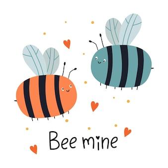 Bee mine cartão com duas abelhas voando e letras de mão para o dia dos namorados Vetor Premium
