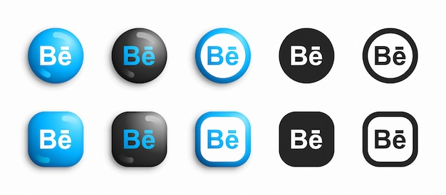 Behance moderno 3d e conjunto de ícones plana