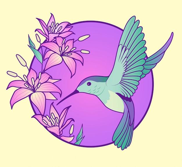 Beija-flor com lírios