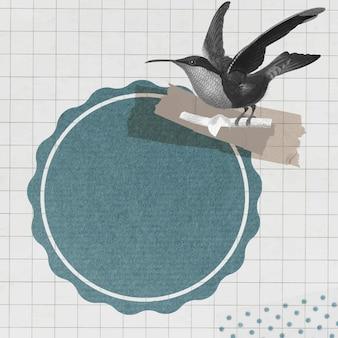 Beija-flor de garganta-granada com vetor de emblema redondo