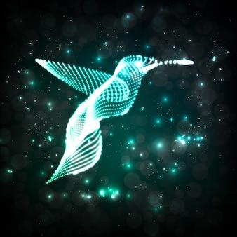 Beija-flor de néon, fundos abstratos de luzes