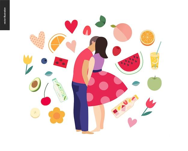 Beijando a cena - ilustração em vetor plana dos desenhos animados do jovem casal, namorado e namorada, beijando na praia, cena romântica com frutas