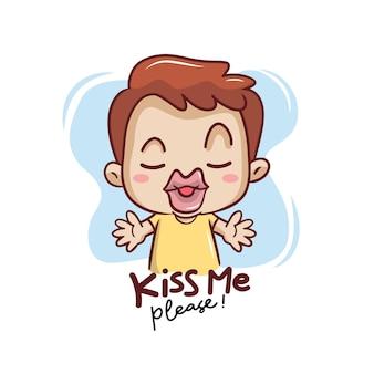 Beije-me por favor com personagem de menino engraçado