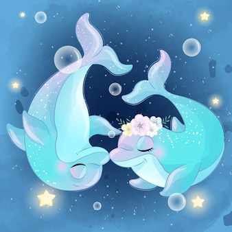 Beijo bonito de dois golfinhos
