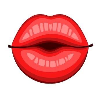 Beijo de lábios vermelhos. boca e lábios de estilo simples. beije o ícone do logotipo sexy para o cartão. ilustração isolada no fundo branco.