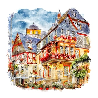 Beilstein alemanha esboço em aquarela desenhado à mão