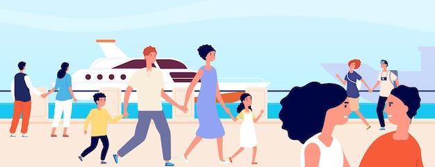 Beira-mar de verão. férias femininas jovens à beira-mar. aterro à vela, paisagem mediterrânea romântica