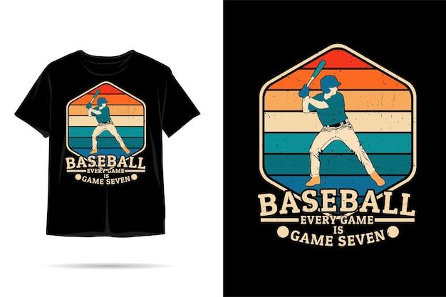 Beisebol, cada jogo é um jogo de sete silhuetas de design de camiseta