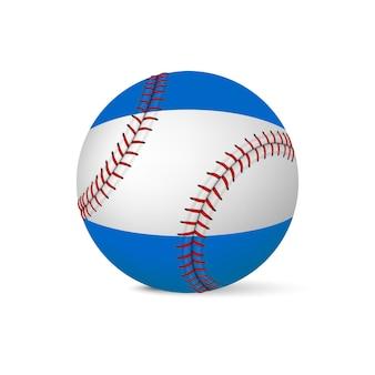 Beisebol com a bandeira da nicarágua, isolada no fundo branco.