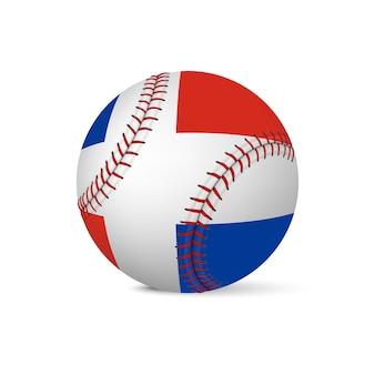 Beisebol com a bandeira da república dominicana, isolada no fundo branco.