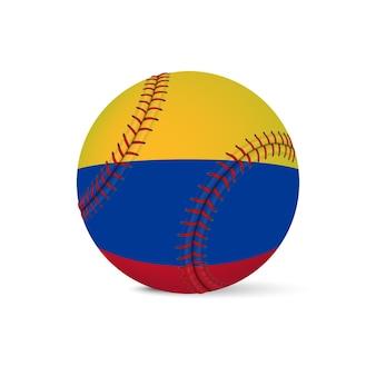 Beisebol com bandeira da colômbia, isolada no fundo branco.