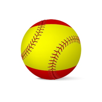 Beisebol com bandeira da espanha, isolado no fundo branco.