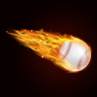 Beisebol com ilustração do efeito de fogo