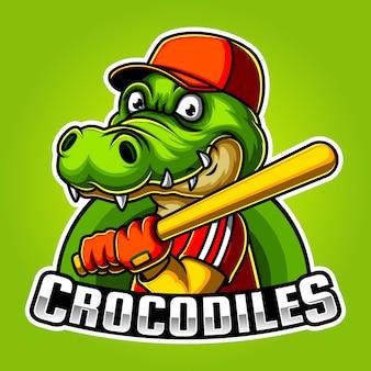 Beisebol crocodilo mascote e esporte design de logotipo