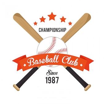 Beisebol de ilustração cruzada bastões e estrelas de bola
