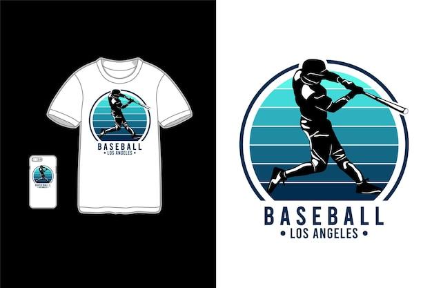 Beisebol de los angeles, maquete de mercadoria de t-shirt