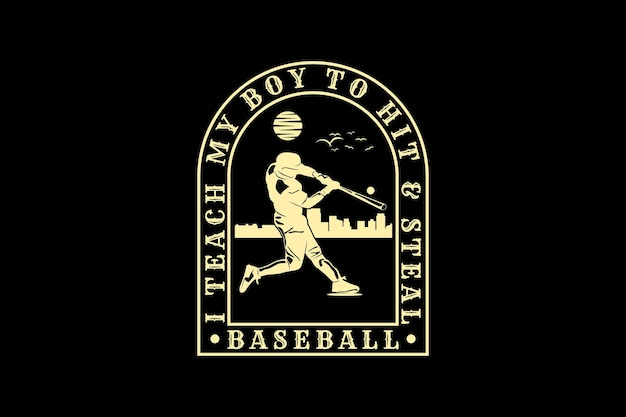 Beisebol, design de silhueta estilo retro