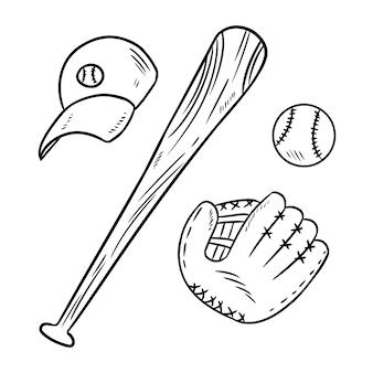 Beisebol, taco de beisebol, chapéu e rabiscos de luva de catchig
