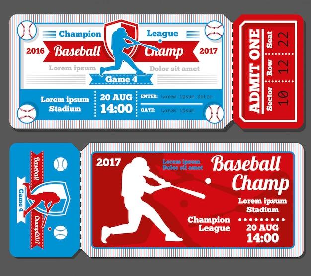 Beisebol vintage, conjunto de bilhetes de esportes