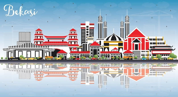 Bekasi indonésia city skyline com edifícios de cor, céu azul e reflexos. bekasi cityscape with marcos.