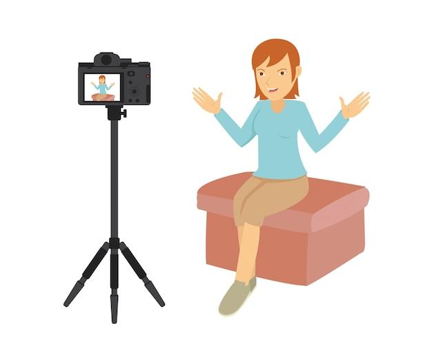 Bela ação vlogger na frente da câmera
