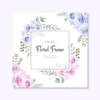 Bela aquarela azul e rosa flores florar frame background