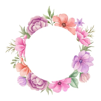 Bela aquarela colorida moldura de flores de primavera