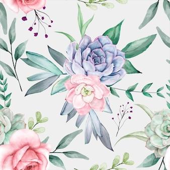 Bela aquarela floral design padrão sem emenda