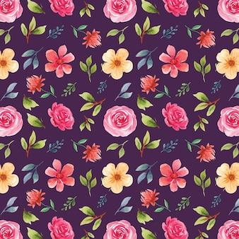 Bela aquarela floral padrão sem emenda em fundo roxo