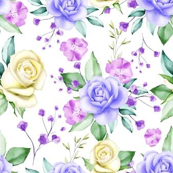 Bela aquarela floral padrão sem emenda
